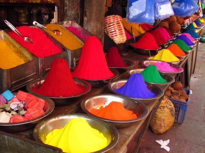 Paint pots at Mysore Market.